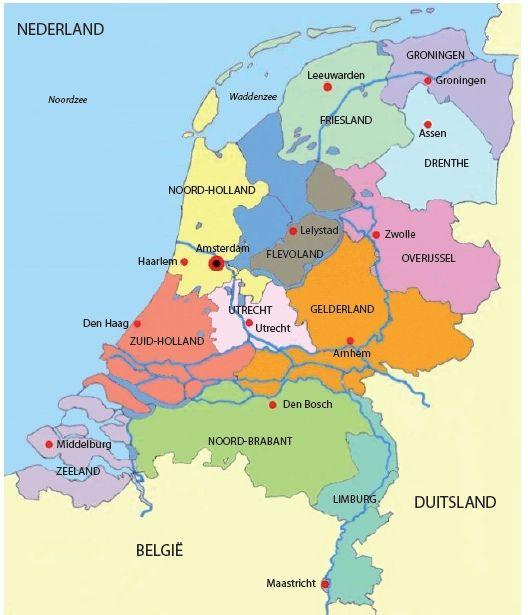Afbeeldingsresultaten voor nederland provincies en hoofdsteden