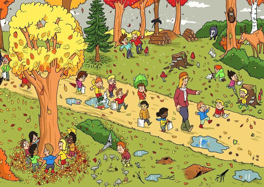Afbeeldingsresultaat voor boswandeling kleuters prent